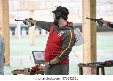 Rio, Brazil - august 10, 2016: CARRERA Pablo (ESP) during shooting 50m Pistol Men Shooting at Olympic Games 2016 in Olympic Shooting Centre, Deodoro
