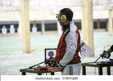 Rio, Brazil - august 10, 2016: DONKOV Samuil (BUL) during shooting 50m Pistol Men Shooting at Olympic Games 2016 in Olympic Shooting Centre, Deodoro