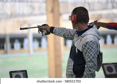 Rio, Brazil - august 10, 2016: KOPP Pavol (SVK) during shooting 50m Pistol Men Shooting at Olympic Games 2016 in Olympic Shooting Centre, Deodoro