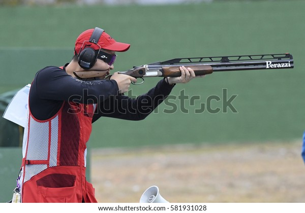 Rio, Brazil - august 10, 2016: PAN Qiang (CHN) during Double Trap Men at Olympic Games 2016 in Olympic Shooting Centre, Deodoro