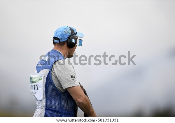 Rio, Brazil - august 10, 2016: BROL Enrique (GUA) during Double Trap Men at Olympic Games 2016 in Olympic Shooting Centre, Deodoro