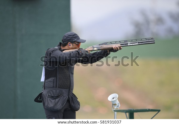 Rio, Brazil - august 10, 2016:Fehaid Al-Deehani (IOA) during Double Trap Men at Olympic Games 2016 in Olympic Shooting Centre, Deodoro