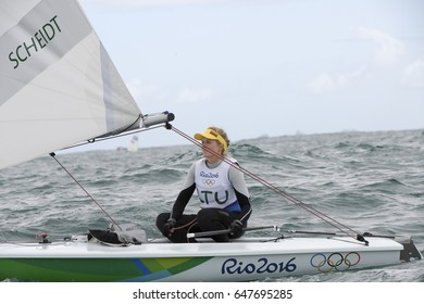 Rio, Brazil - august 12, 2016: Gintare  SCHEIDT in the Laser Women category during the Rio 2016 Olympic Games Sailing held at Marina da Gloria, Guanabara Bay