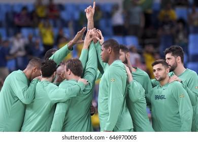 Rio, Brazil - august 13, 2016: Brazilian team during basketball game Brazil (BRA) vs Argentina (ARG) in Arena Carioca 1 in the Olympics Rio 2016