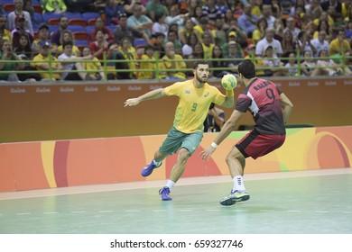 Rio, Brazil - august 13, 2016: Lucas CANDIDO during Handball game Brazil (BRA) vs Egypt (Egy) in Future Arena in the Olympics Rio 2016