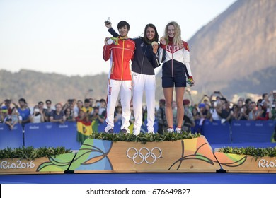 Rio, Brazil - august 14, 2016: Charline PICON (FRA) gold medal, Peina CHEN (CHN) silver and Stefaniya ELFUTINA (RUS) bronze during Podium ceremony Women's rs-x sailing of the Rio 2016 Olympics Games