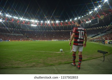Rio, Brazil - August 15, 2018: - Flamengo Diego player during the football match between Flamengo and Grêmio for the Brazil Soccer Cup at Maracanã Stadium