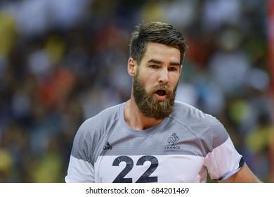 Rio, Brazil - august 19, 2016: Luka KARABATIC (FRA) during Handball game France (FRA) vs Germany (GER) in Future Arena in the Olympics Rio 2016