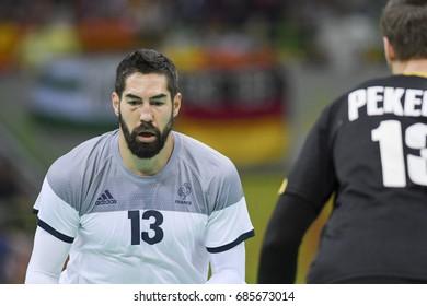 Rio, Brazil - august 19, 2016: Nikola KARABATIC (FRA) during Handball game France (FRA) vs Germany (GER) in Future Arena in the Olympics Rio 2016