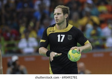 Rio, Brazil - august 19, 2016: Steffen WEINHOLD (GER) during Handball game France (FRA) vs Germany (GER) in Future Arena in the Olympics Rio 2016