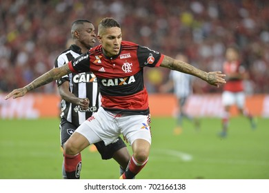Rio, Brazil - august 23, 2017: Paolo Guerrero player in match between Flamengo and  Botafogo by the Brazil Cup in Maracana Stadium