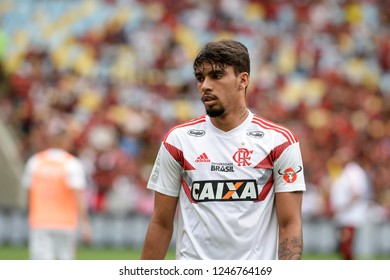 Rio, Brazil - december 01, 2018: Lucas Paqueta player in match between Flamengo and Atletico-PR by the Brazilian Championship in Maracana Stadium