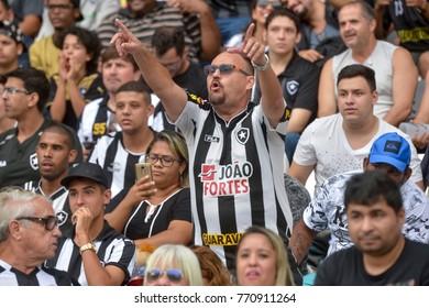 Rio, Brazil - december 03, 2017: Fan in match between Botafogo and  Cruzeiro by the Brazilian championship in Nilton Santos Stadium