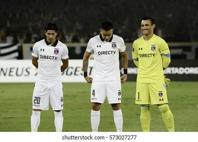 Rio, Brazil - february 01, 2017: Jaime Valdes, Matias Zaldivia and Justo Villar Botafogo (BRA) vs Colo Colo (CHI) in the Copa Libertadores of America match at the Nilton Santos Stadium (Engenhao)
