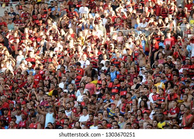 Rio, Brazil - february 03, 2019: Fans in match between Flamengo and Cabofriense by the Carioca Championship in Maracana Stadium