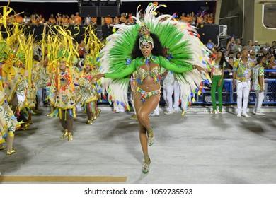Rio, Brazil - february 09, 2018: Samba School parade in Sambodromo. Cubango during parade of the carioca carnival in the Marques de Sapucai