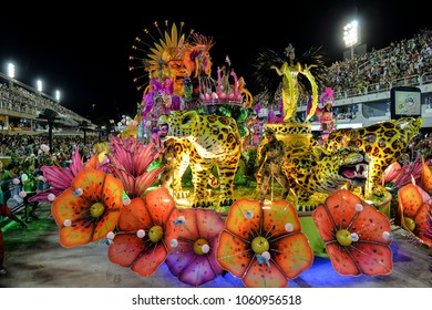 Rio, Brazil - february 11, 2018: Samba School parade in Sambodromo. Unidos de Padre Miguel during parade of the carioca carnival in the Marques de Sapucai