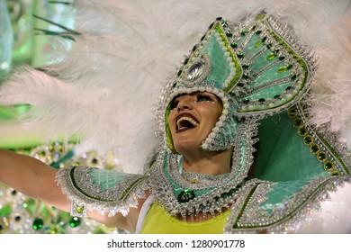Rio, Brazil - february 11, 2018: Samba School Mocidade Padre Miguel perform at Marques de Sapucai known as Sambodromo, for the Carnival Samba Parade competition.