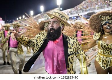 Rio, Brazil - february 11, 2018: Samba School Mangueira perform at Marques de Sapucai known as Sambodromo, for the Carnival Samba Parade competition.