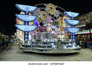 Rio, Brazil - february 12, 2018: Samba School parade in Sambodromo. Mangueira during parade of the carioca carnival in the Marques de Sapucai