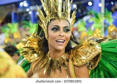 Rio, Brazil - february 12, 2018: Samba School parade in Sambodromo. Grande Rio during parade of the carioca carnival in the Marques de Sapucai, Juliana Paes