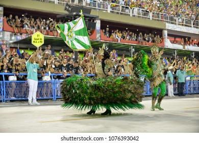 Rio, Brazil - february 12, 2018: Samba School parade in Sambodromo. Mocidade Independente de Padre Miguel during parade of the carioca carnival in the Marques de Sapucai