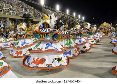 Rio, Brazil - february 12, 2018: Samba School Portela perform at Marques de Sapucai known as Sambodromo, for the Carnival Samba Parade competition.