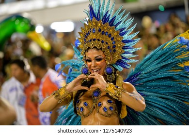 Rio, Brazil - february 12, 2018: Samba School Ilha do Governador perform at Marques de Sapucai known as Sambodromo, for the Carnival Samba Parade competition.