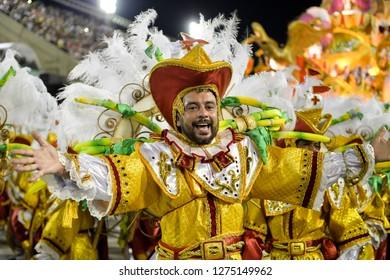 Rio, Brazil - february 12, 2018: Samba School Ilha do Governador perform at Marques de Sapucai known as Sambodromo, for the Carnival Samba Parade competition.