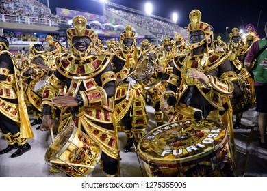 Rio, Brazil - february 12, 2018: Samba School Salgueiro perform at Marques de Sapucai known as Sambodromo, for the Carnival Samba Parade competition