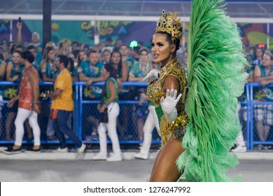 Rio, Brazil - february 12, 2018: Samba School Imperatriz Leopoldinense perform at Marques de Sapucai known as Sambodromo, for the Carnival Samba Parade competition. Women highlight