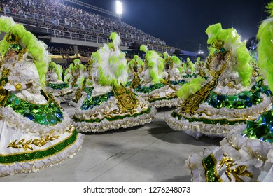 Rio, Brazil - february 12, 2018: Samba School Imperatriz Leopoldinense perform at Marques de Sapucai known as Sambodromo, for the Carnival Samba Parade competition.