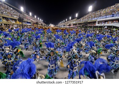 Rio, Brazil - february 12, 2018: Samba School Beija Flor perform at Marques de Sapucai known as Sambodromo, for the Carnival Samba Parade competition.