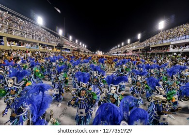 Rio, Brazil - february 12, 2018: Samba School Beija Flor perform at Marques de Sapucai known as Sambodromo, for the Carnival Samba Parade competition.