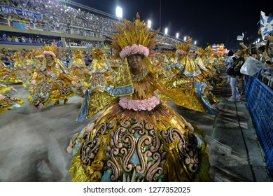 Rio, Brazil - february 12, 2018: Samba School Beija Flor perform at Marques de Sapucai known as Sambodromo, for the Carnival Samba Parade competition. Baiana