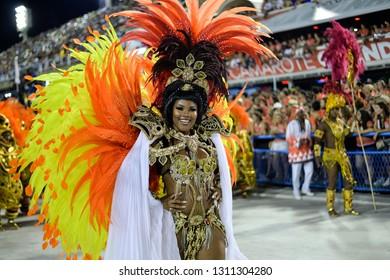 Rio, Brazil - february 17, 2018: Samba School perform at Marques de Sapucai known as Sambodromo, for the Carnival Samba Parade champions.
