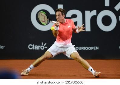 Rio, Brazil - february 18, 2019: Roberto Carballes Baena (ESP) during Rio Open 2019 (ATP 500) held at the Jockey Club Brasileiro.