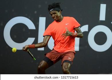 Rio, Brazil - february 19, 2019: Elias Ymer (SWE) during Rio Open 2019 (ATP 500) held at the Jockey Club Brasileiro.