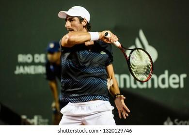 Rio, Brazil - february 21, 2019: Pablo Cuevas (URU) during Rio Open 2019 (ATP 500) held at the Jockey Club Brasileiro.