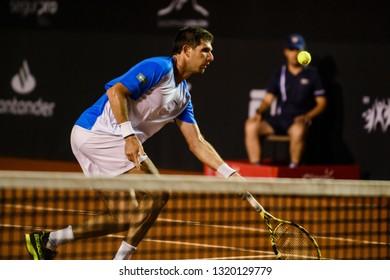 Rio, Brazil - february 21, 2019: Federico Delbonis (ARG) during Rio Open 2019 (ATP 500) held at the Jockey Club Brasileiro.