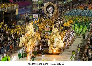 Rio, Brazil - February 21, 2020: parade of the samba school Academicos do Cubango at the Marques de Sapucai Sambodromo