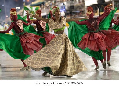 Rio, Brazil - February 21, 2020: parade of the samba school Imperio Serrano, at the Marques de Sapucai Sambodromo