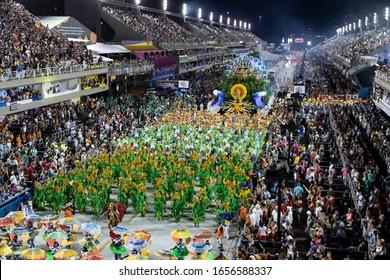 Rio, Brazil - February 24, 2020: parade of the samba school Unidos da Tijuca, at the Marques de Sapucai Sambodromo
