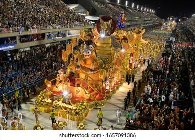 Rio, Brazil - February 24, 2020: parade of the samba school Sao Clemente, at the Marques de Sapucai Sambodromo