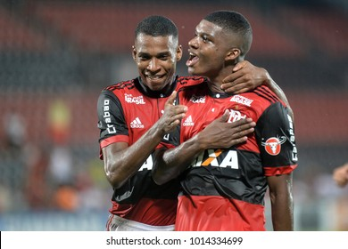 Rio, Brazil - january 24, 2018: Lincoln and Jean Lucas in match between Flamengo and Bangu by the Carioca Championship in Maracana Stadium