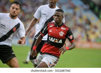 Rio, Brazil - january 27, 2018: Vinicius Junior in match between Flamengo and Vasco by the Carioca Championship in Maracana Stadium