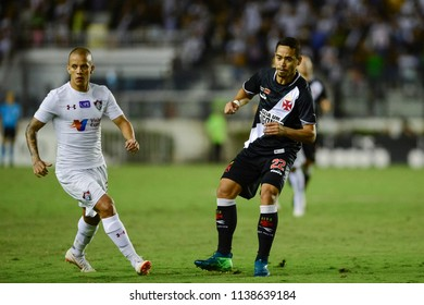 Rio, Brazil - july 19, 2018: Marco Junior and Yago Pikachu player in match between Vasco and Fluminense by the Brazilian Championship in Sao Januario Stadium