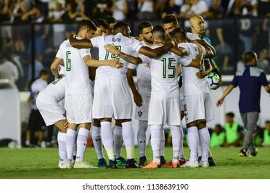 Rio, Brazil - july 19, 2018: tricolor team in match between Vasco and Fluminense by the Brazilian Championship in Sao Januario Stadium