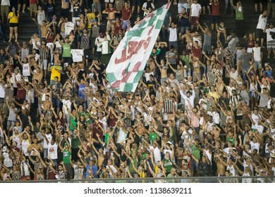 Rio, Brazil - july 19, 2018: Fans in match between Vasco and Fluminense by the Brazilian Championship in Sao Januario Stadium