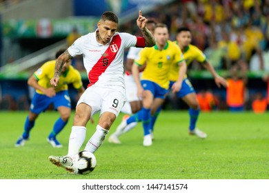 Rio, Brazil - July 7, 2019: Paolo Guerrero of Peru kicks the ball during the 2019 America Cup finals game between Brazil and Peru at Maracana Stadium.